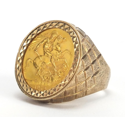 649 - Elizabeth II 1974 gold sovereign set in a 9ct ring mount, size S, approximate weight 15.0g...