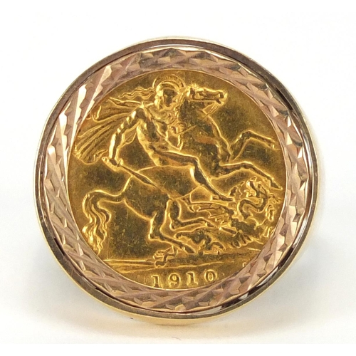 681 - Edward VII 1910 gold half sovereign set in a 9ct gold ring mount, size V, approximate weight 9.0g...