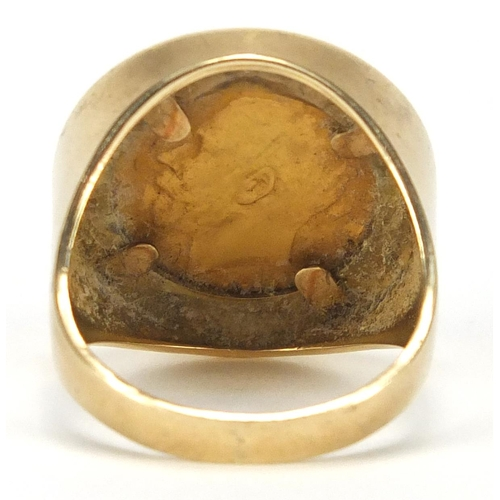 666 - 1925 George V gold half sovereign set in a 9ct gold ring mount, size R, approximate weight 11.3g...