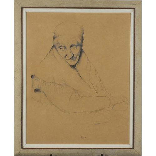 839 - S Whitehead-Smith - Portrait of an elderly female, 'Age', pencil, mounted and framed, 56cm x 44cm...