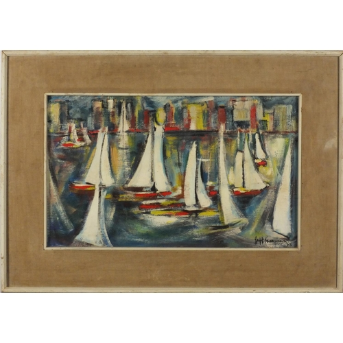 833 - Impressionist harbour, Durban, oil on board, bearing a indistinct signature possibly Jeff Kiseman an...