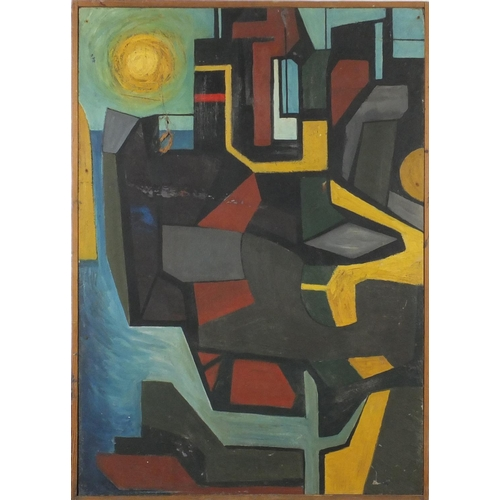 854 - Attributed to Dora Maar - Abstract composition, harbour sunset, oil on board, Hewson & Forster label...