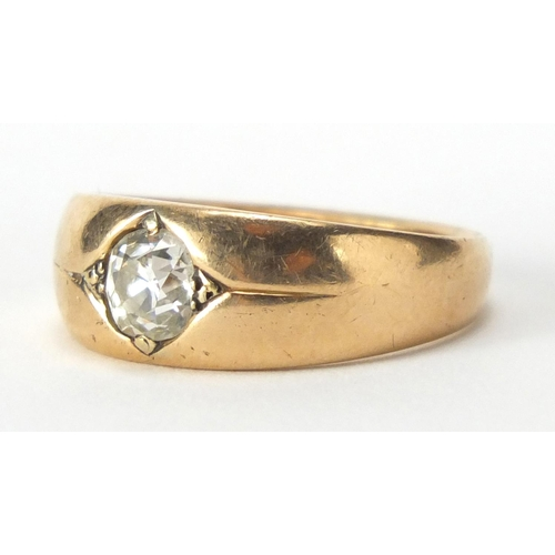 638 - 18ct gold diamond solitaire Gypsy ring, J J C makers stamp, size R, approximate weight 8.7g...