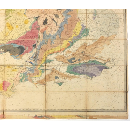 129 - 19th century geological map of England & Wales and Part of Scotland, hand coloured, by J & L Walker ...