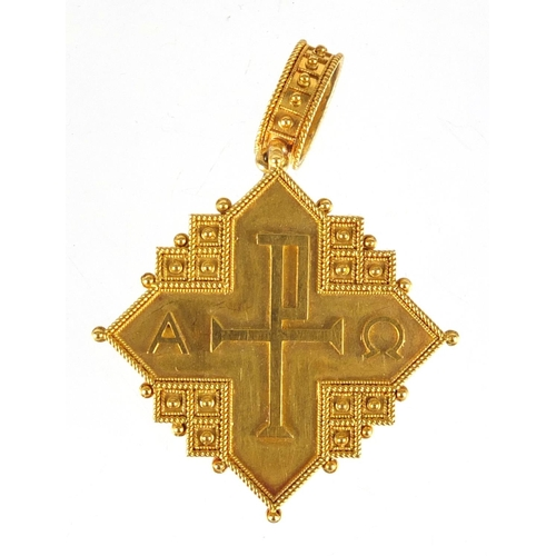 668 - Italian unmarked gold mourning pendant brooch, 5cm in length, approximate weight 12.5g, housed in a ...