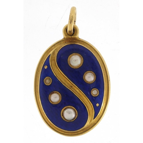 652 - Unmarked gold blue guilloche enamel and seed pearl mourning pendant, 3cm in length, approximate weig...
