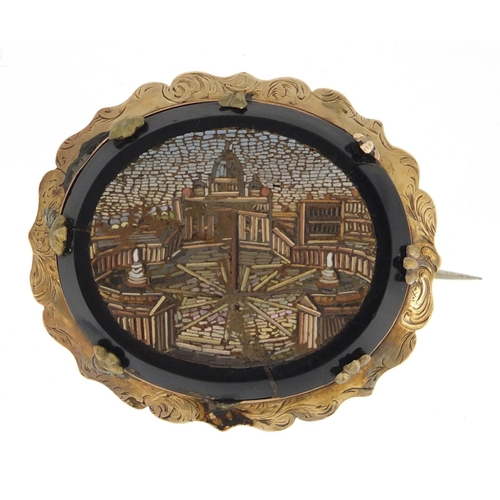 663 - Italian unmarked gold micro mosaic brooch, depicting St Peter Vatican Rome, 4.5cm wide, approximate ...