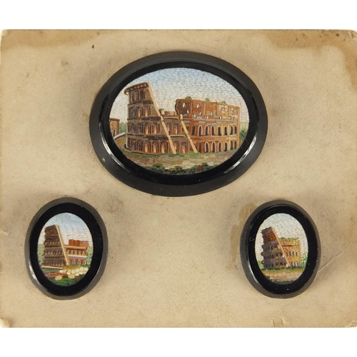 648 - Three Italian micro mosaic panels depicting the Roman Colosseum, mounted on card, the largest 3.3cm ...