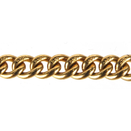 669 - 9ct gold watch chain with T-bar and red sandstone pendant, 44cm in length, approximate weight 48.5g...