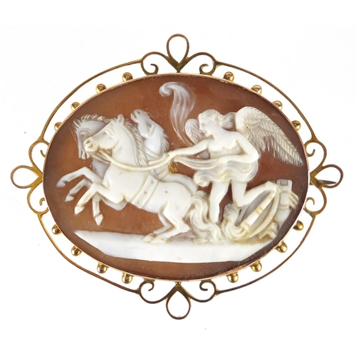 677 - Victorian 9ct gold cameo brooch depicting Nike conducting the horses of the sun, 5.7cm wide, approxi...
