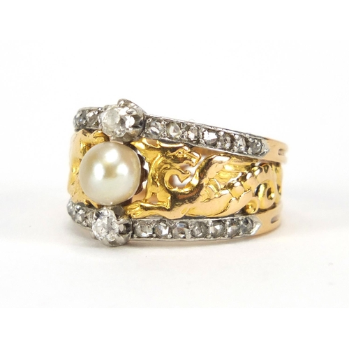 640 - French gold diamond and pearl ring, the shoulders pierced with dragons, impressed eagle head mark to...