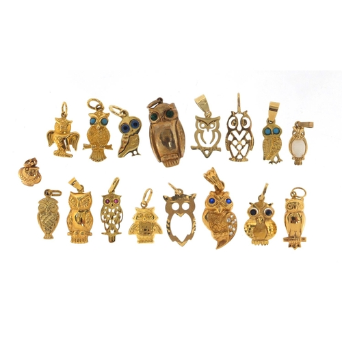 661 - Seventeen gold owl charms including 14ct and 9ct, the largest 3cm in length, approximate weight 21.3...