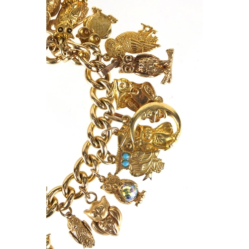637 - Good 9ct gold charm bracelet with a large selection of mostly gold owl charms including 18ct, 14ct a...