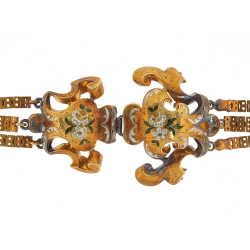 643 - Antique French unmarked gold and enamel bracelet, housed in a fitted tooled leather box, 18cm in len...