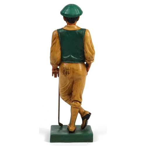 2047 - Large hand painted figure of a golfer, 77cm high...