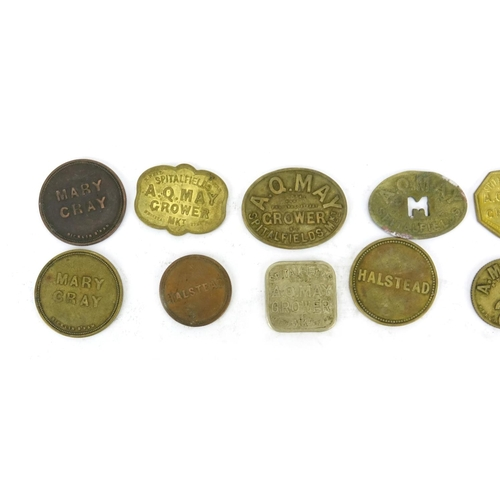 157 - Collection of antique farming tokens including A Q May Grower...