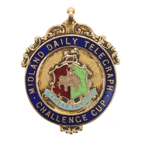 161 - 9ct gold and enamel Midland Daily Telegraph Challenge Cup jewel, engraved Senior Cup Winners 1924-25...