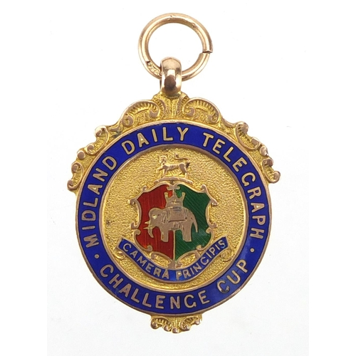 162 - 9ct gold and enamel Midland Daily Telegraph Challenge Cup jewel, engraved Senior Cup Runners Up 1927...