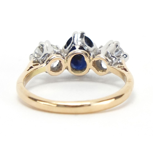 651 - 18ct gold sapphire and diamond three stone ring, size L, approximate weight 3.0g...