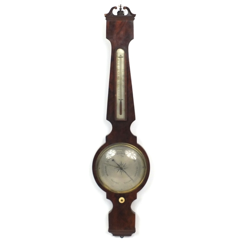 42 - Victorian mahogany banjo barometer with thermometer and silvered dials, 101cm high...