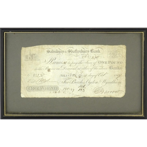 139 - Early 19th century Salisbury and Shaftesbury one pound banknote, date 4th October 1809, signed Barro...