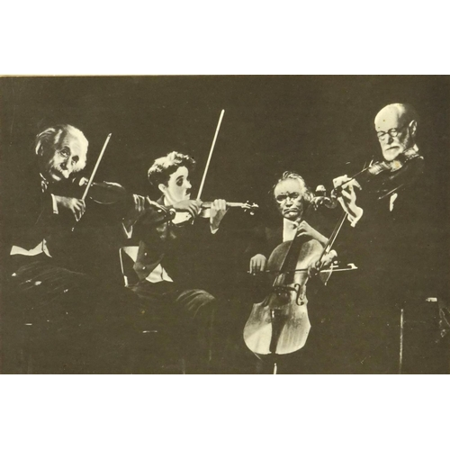 123 - Black and white photograph of four musicians, signed by Charlie Chaplin, depicting Einstein, Freud, ...