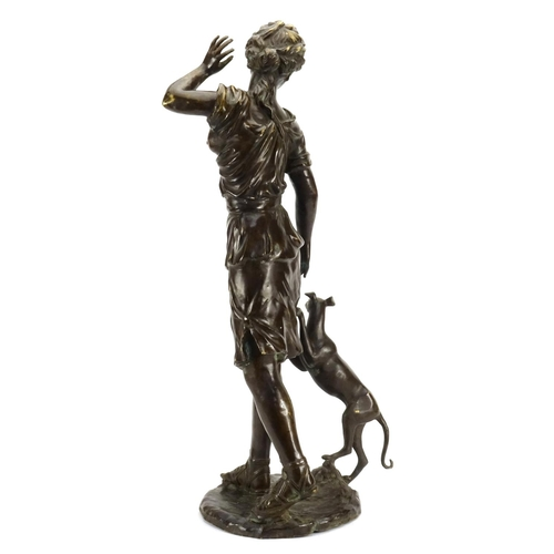 2 - Large floor standing patinated bronze figure of a young female with a dog, 76.5cm high...