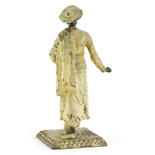 12 - Cold painted patinated Spelter figure of an Arab man in the style of Bergmann, 36cm high...