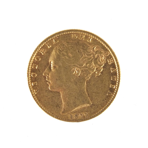 145 - Victoria Young Head 1877 shield back sovereign...