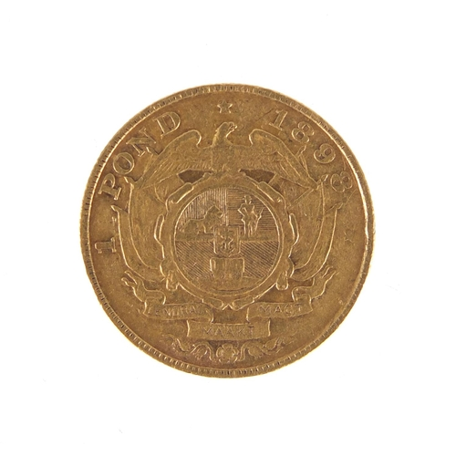 148 - South African 1898 gold one pond...