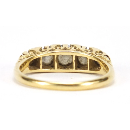 672 - 18ct gold diamond five stone ring, size P, approximate weight 4.6g, housed in a Bentley & Skinner to...