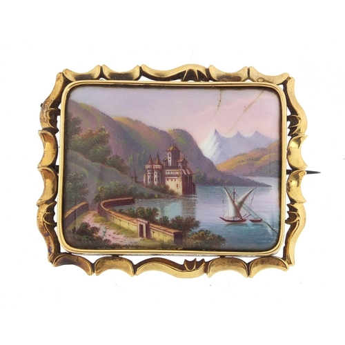 667A - Victorian unmarked gold enamelled brooch, Lake Lucerne Switzerland, 4.8cm wide, approximate weight 1...