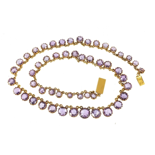 707 - Antique unmarked gold graduated amethyst necklace, 42cm in length, approximate weight 24.5g...