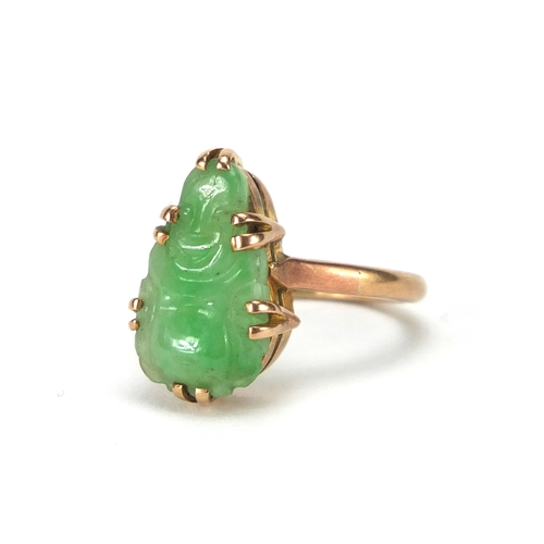 679 - 9ct gold green jade ring carved with Buddha, size K, approximate weight 3.9g...