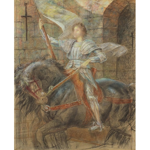 857 - Attributed to William Blake Richmond - Knight on horseback, pastel on paper laid on canvas, mounted ...