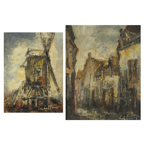 860 - Emile Lammers - Town scene and windmill, two oil on canvases, mounted and framed, the largest 38.5cm...