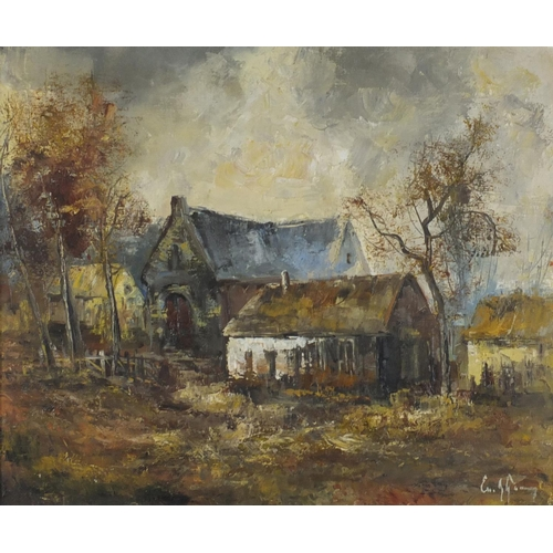 859 - Emile Lammers - Cottage in a landscape, oil on canvas, mounted and framed, 59cm x 48.5cm...