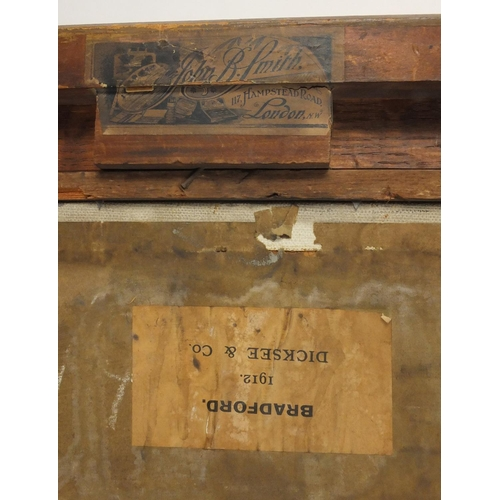 850 - Farm buildings, early 20th century oil on board, bearing a signature B Nelson and labels verso, moun...
