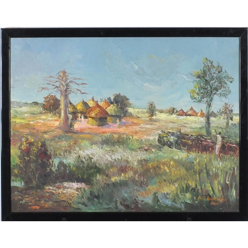 836 - Albert Osabu Bartimeus 1984 - African village, oil on canvas, framed, 58cm x 44cm...