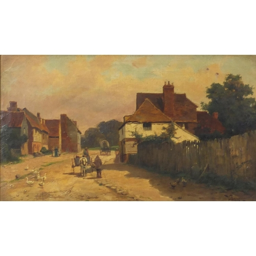 863 - Will Andrews - Village street scene, 19th century oil on canvas, mounted and framed, 50cm x 29cm...