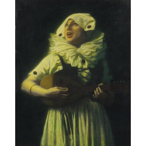 838 - Female harlequin playing a banjo, post impressionist continental school, oil on canvas laid on board...