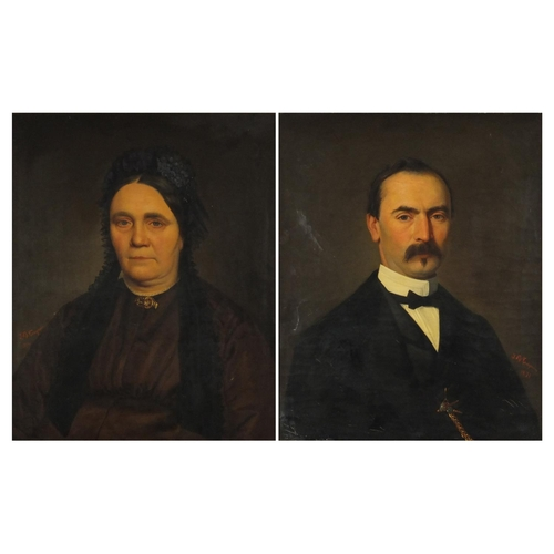 853 - J B Caquin 1871 - Male and female in formal dress, pair of 19th century oil on canvases, mounted and...