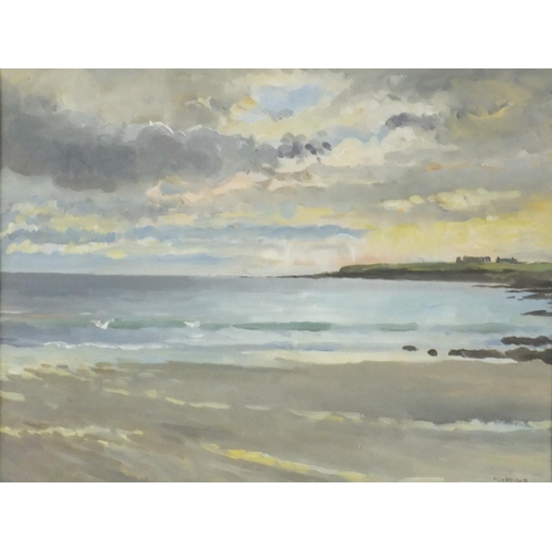 862 - Ian Macinnes - Sunset over Breckness Castle, oil on board, inscribed from 47 Group Exhibition Aberde...