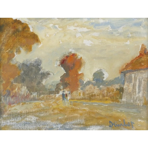 826 - Ronald Ossory Dunlop - The Road to Canterbury and Yarmouth Isle of Wight, pair of oil on boards, bot...