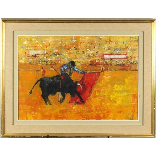 844 - Bull fighting, South American school oil on canvas, bearing a signature possibly Polallax, mounted a...