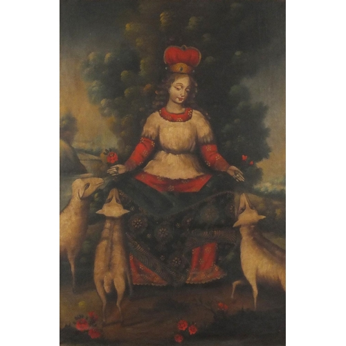 865 - The Divine Shepherdess, antique oil on canvas laid on board, mounted and framed, 59cm x 38.5cm...