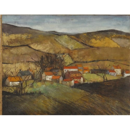 869 - Attributed to Sheila Fell - Rural landscape with cottages, oil on canvas, inscribed Fell verso, unfr...