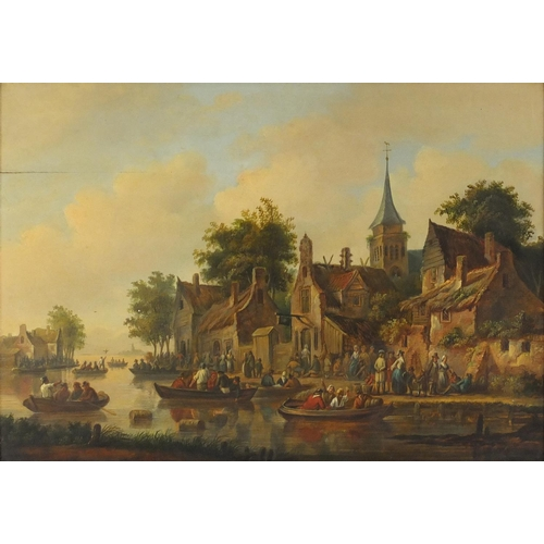 837 - Busy riverside scene, early 19th century Dutch school oil on wood panel, bearing an indistinct signa...