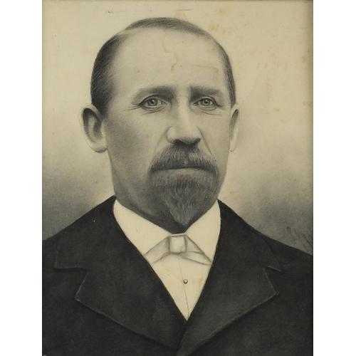 848 - Head and shoulders portrait of a gentleman in formal dress, Art Nouveau school pencil on paper, bear...