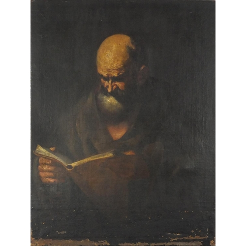 827 - Portrait of a monk reading, Antique Old Master oil on canvas, unframed, 101cm x 76.5cm...